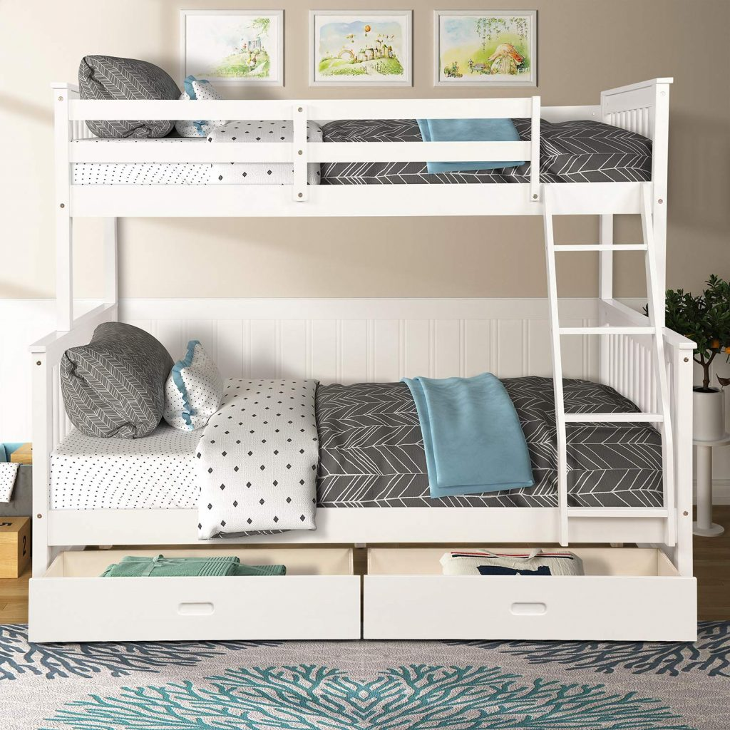 meritline white bunk bed