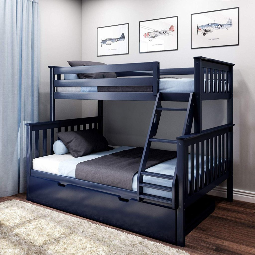 Max & Lily Solid Wood Twin Over Full Bunk Trundle Bed