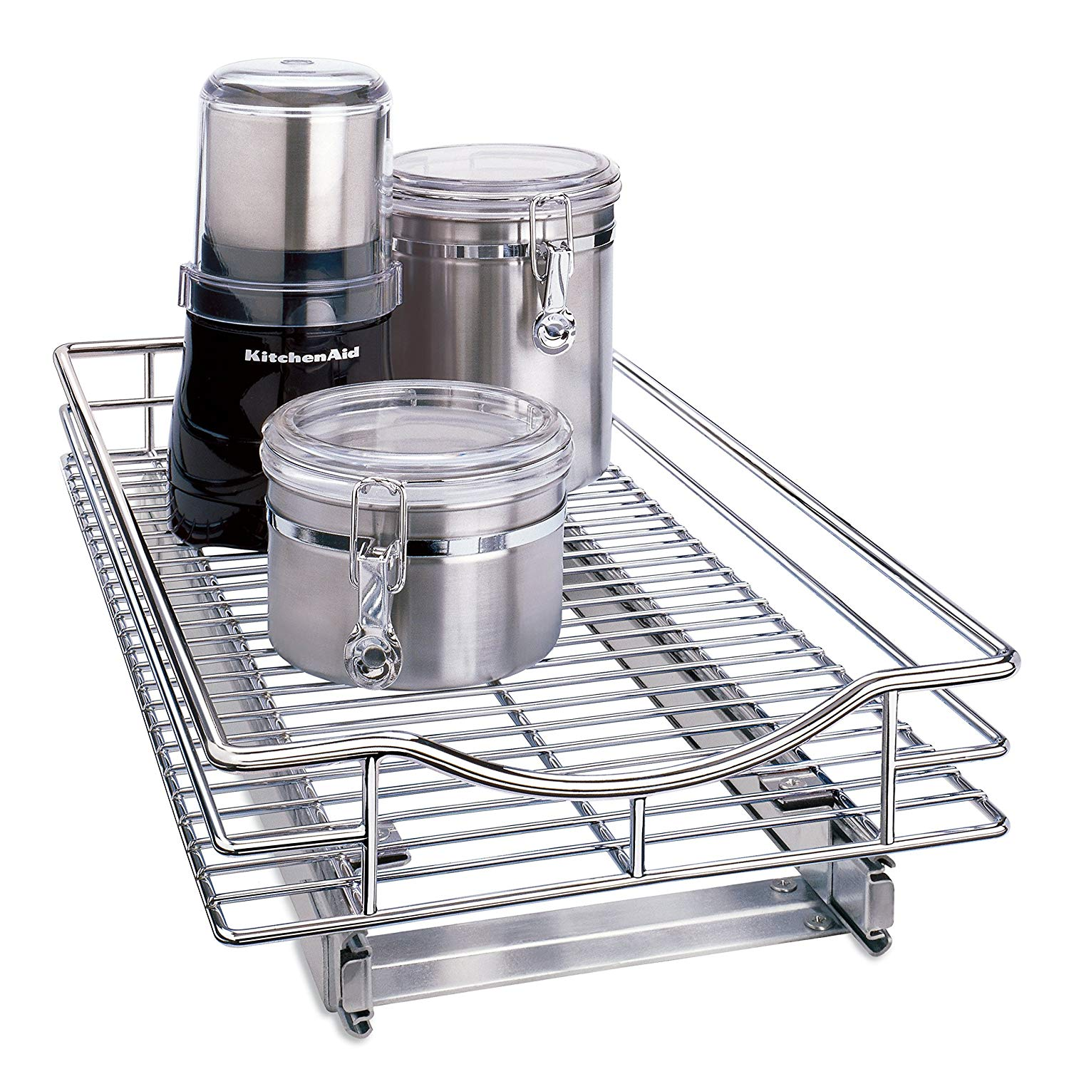 11 Inch x 18 Inch Chrome Slide-Out Cabinet Basket