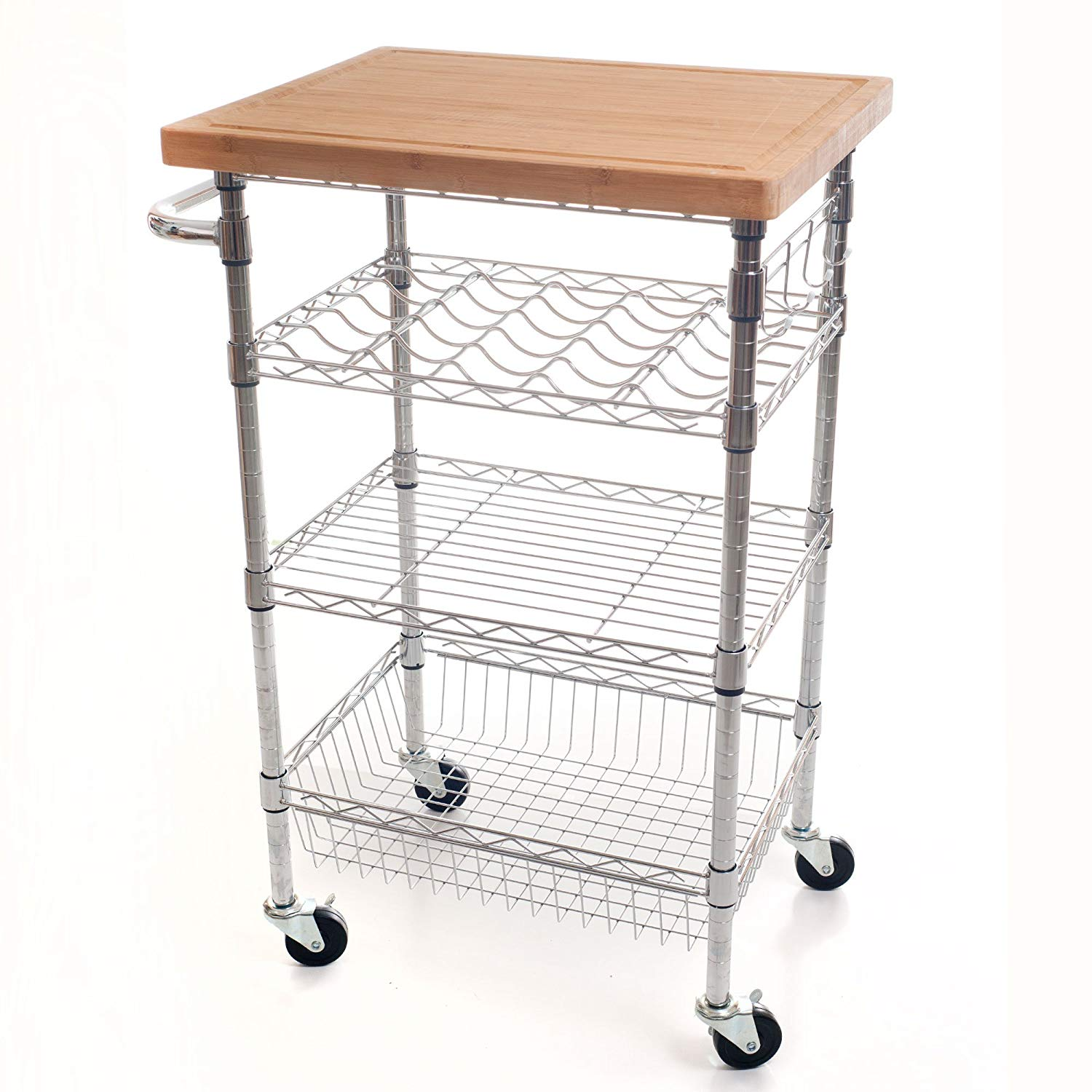 Cocktail Cart with Butcher Block Top