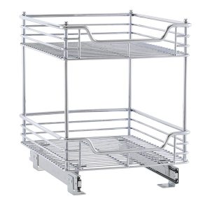 2-Tier Chrome Slide-Out Cabinet Basket
