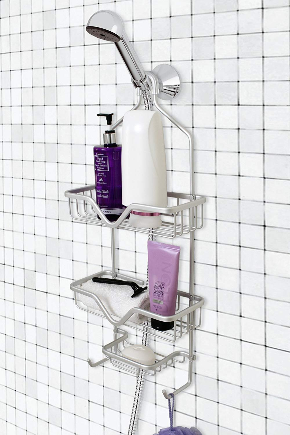2-Tier White Shower Caddy