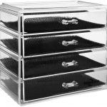 4-Drawer Clear Organizer with Bamboo Frame