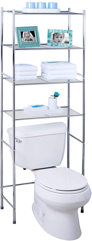 bathroom space saver over toilet shelf  storables,