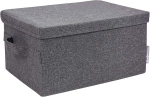 Bigso Medium Gray 13.8 x 7.5 x 10.25 inches Soft Storage Box