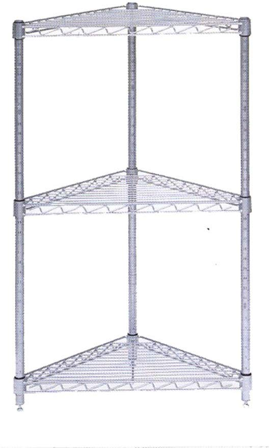 black steel wire corner shelving unit