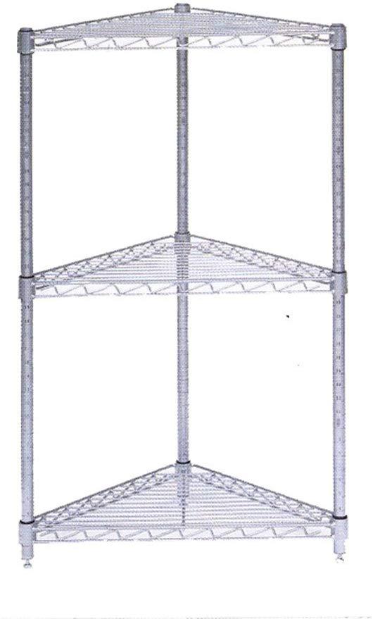 black steel wire corner shelf