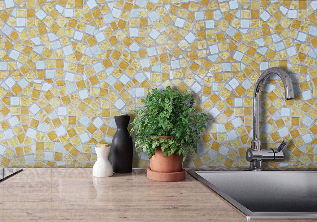 Blue and Orange Mosaic Kitchen Wallpaper