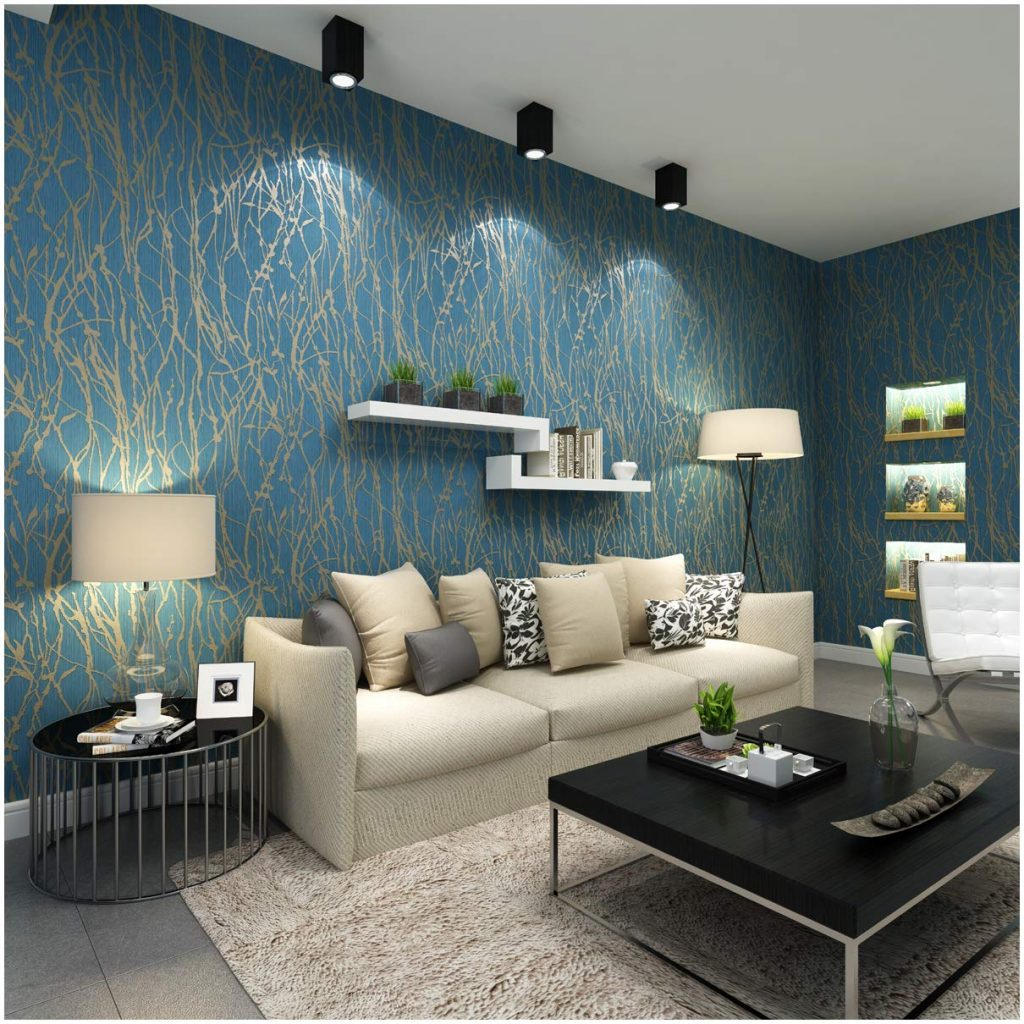 Blue and gray living room wallpapers with lounge suite