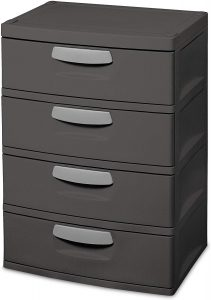 Brushed Gray Plastic 4-Drawer Chest