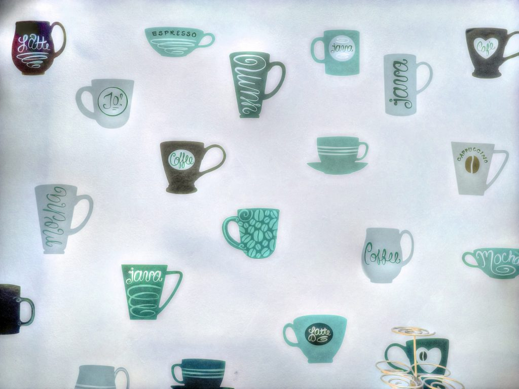 Coffee cup kitchen wallpaper