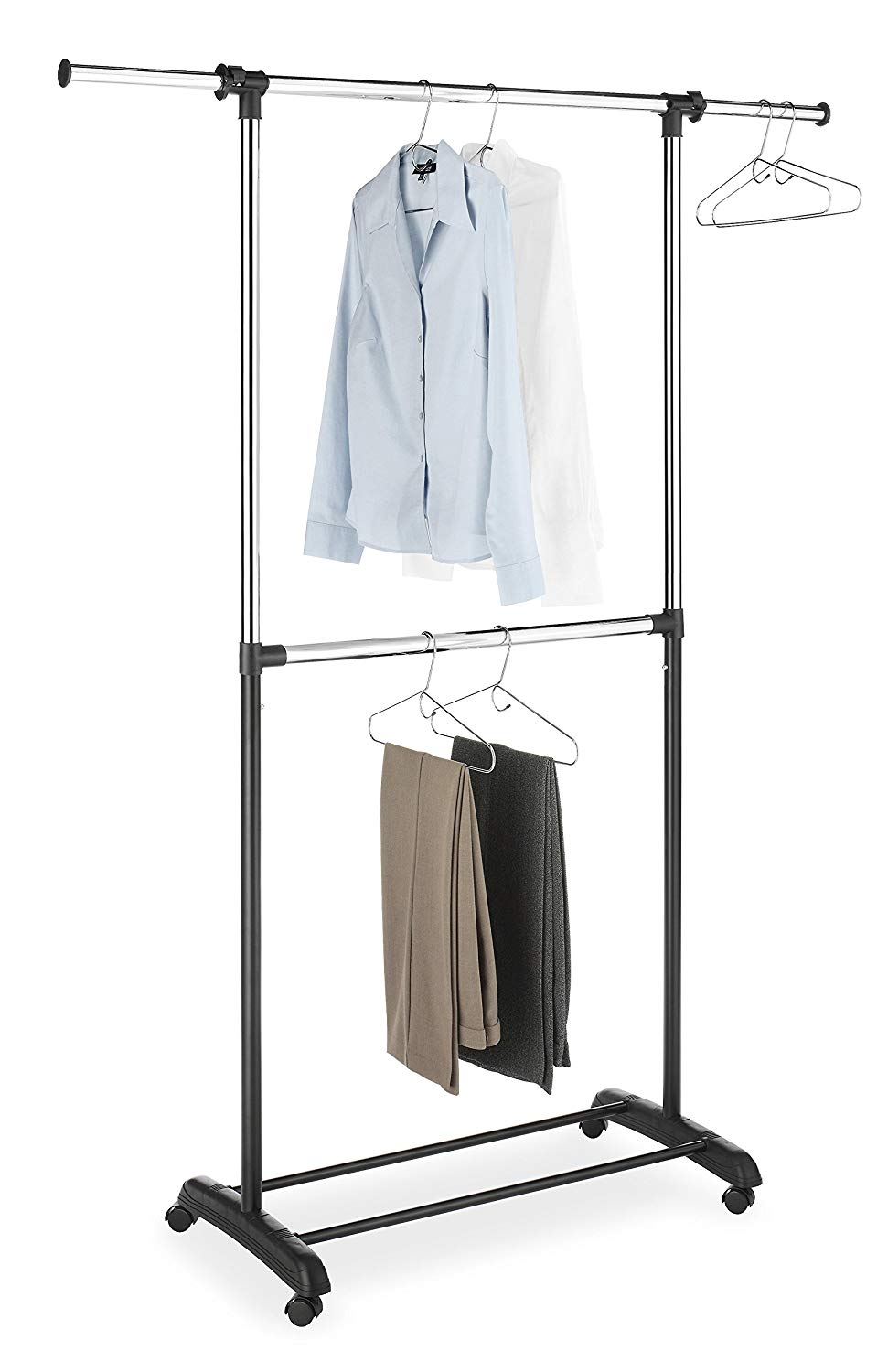 Rolling Wardrobe With Closet Rod And Shelves