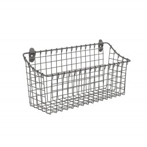 Extra Large 15.25 Inch x 7.5 Inch Gray Cabinet & Wall Mount Basket