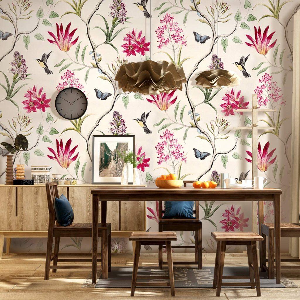 Floral vintage kitchen wallpaper
