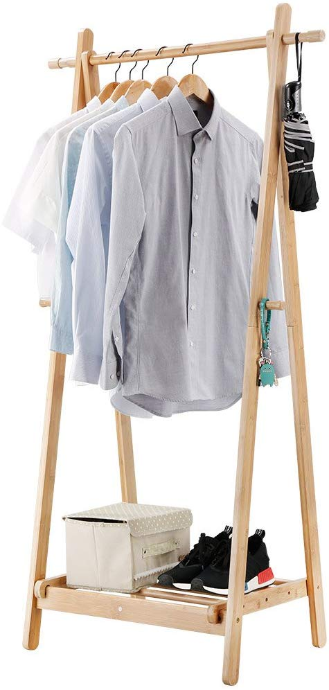 FoldingBamboo Garment Rack with Eco Linen Box