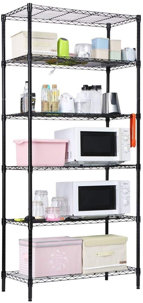 18 Inch x 36 Inch Garage Storage Rack, Black