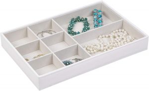 Gray 8-Compartment Jewelry Tray