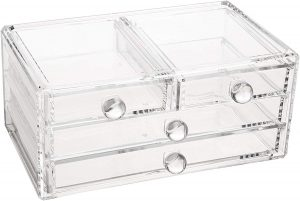 Large Clear 4-Drawer Makeup Chest