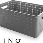 Large Grey Plastic Storage Basket