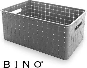 Large Grey Plastic Storage Basket