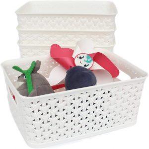 Medium White Dot Basket