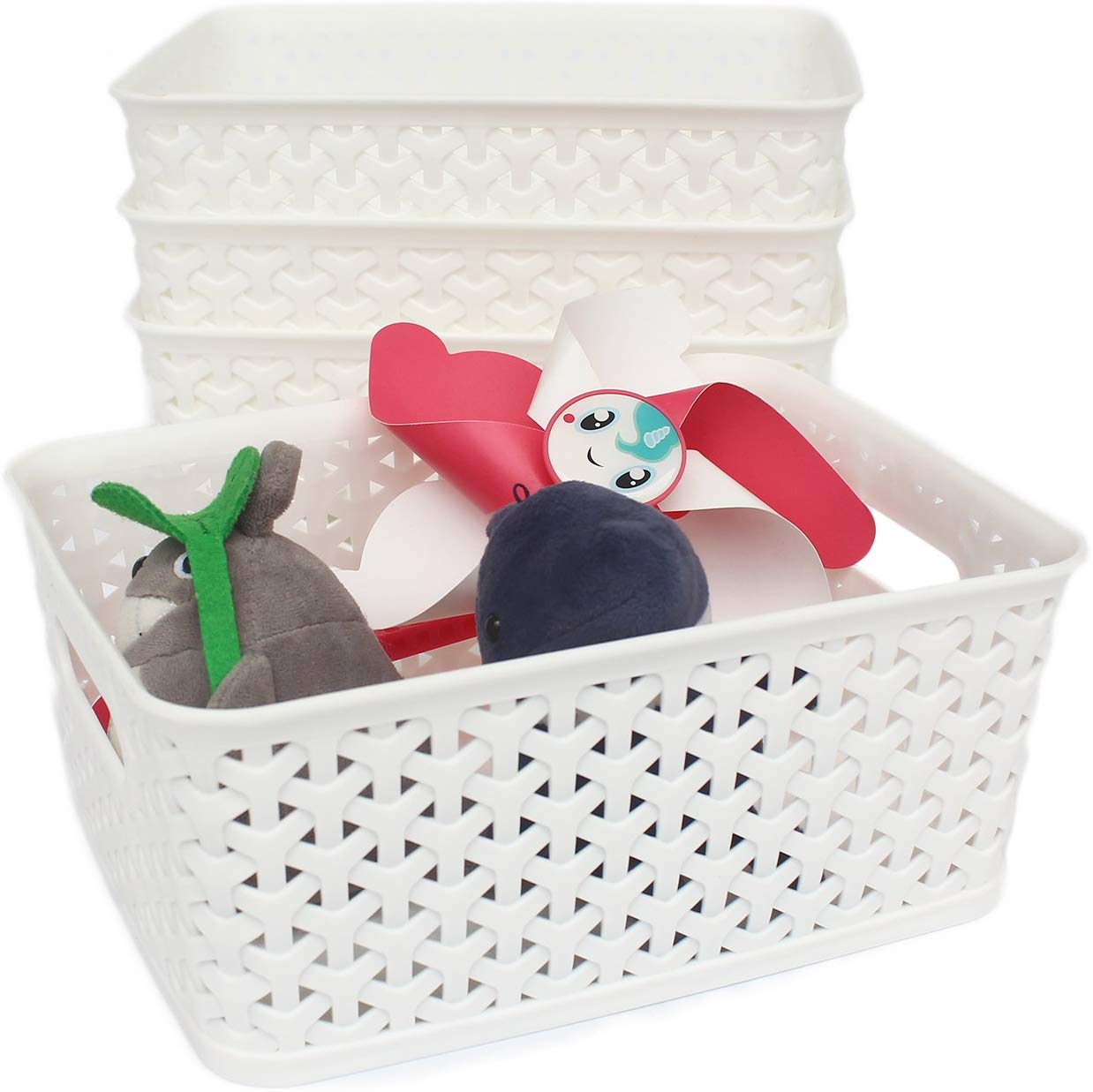 Medium White Dot Basket