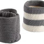 Mini Gray & Ivory Ellis Knit Bins - S/2