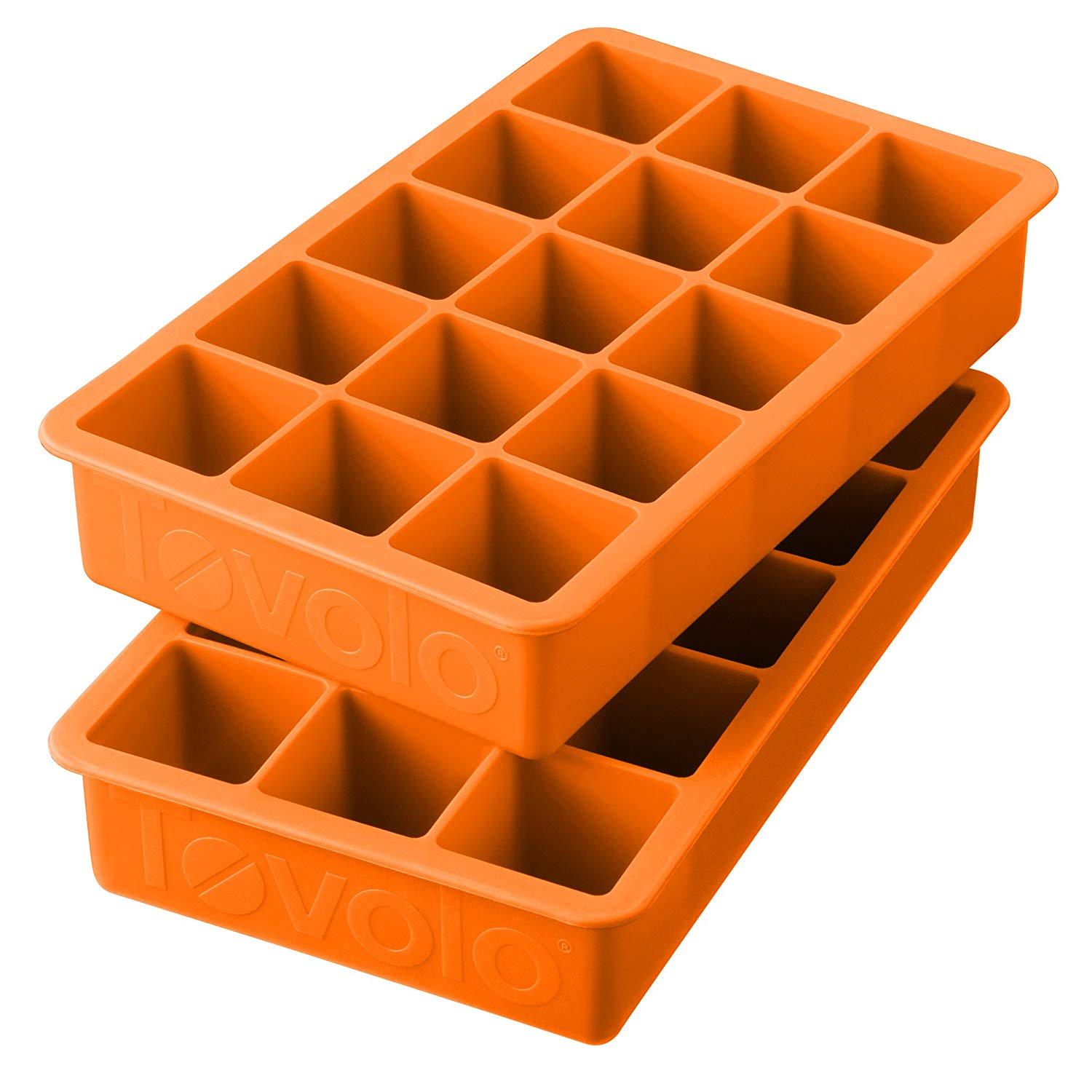 Orange Silicone Perfect Cube Ice Cube Trays