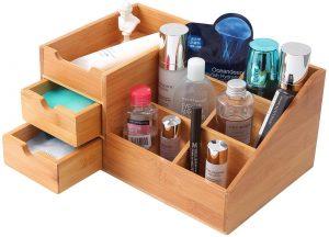 Professional Wood Countertop Makeup Organizer