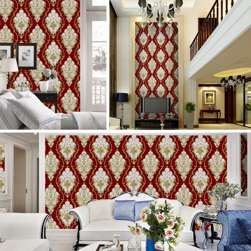 Red damask living room wallpapers