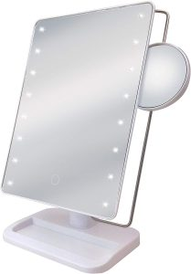 Sharper Image Large LED Mirror with Vanity Tray, White