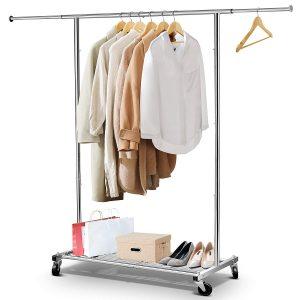 Silver Pipe Garment Rack
