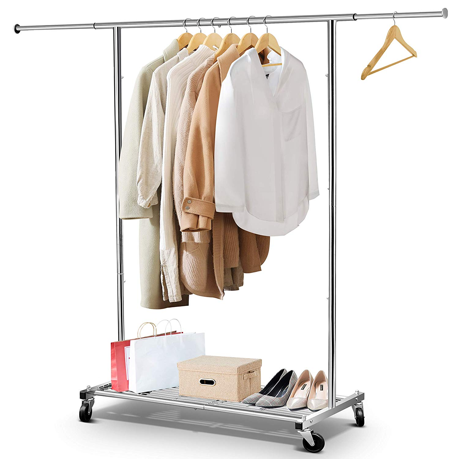 Silver Pipe Garment Rack