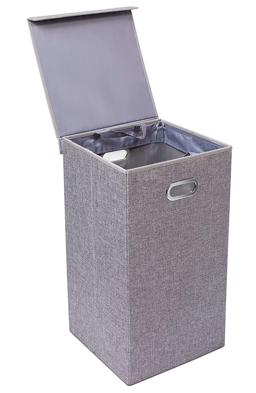 Single Gray Folding Hamper with Lid
