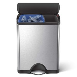 Stainless Steel Rectangular Dual Compartment Trash Can