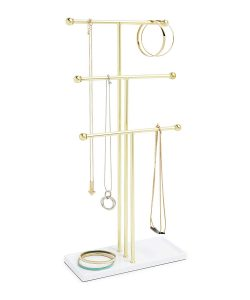White & Brass Trigem Jewelry Tree