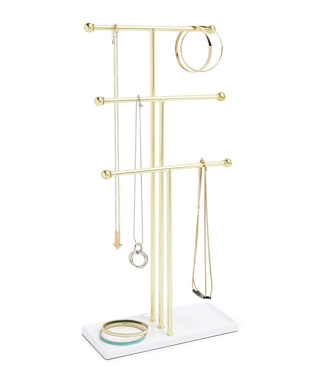 White & Brass Trigem Jewelry Tree