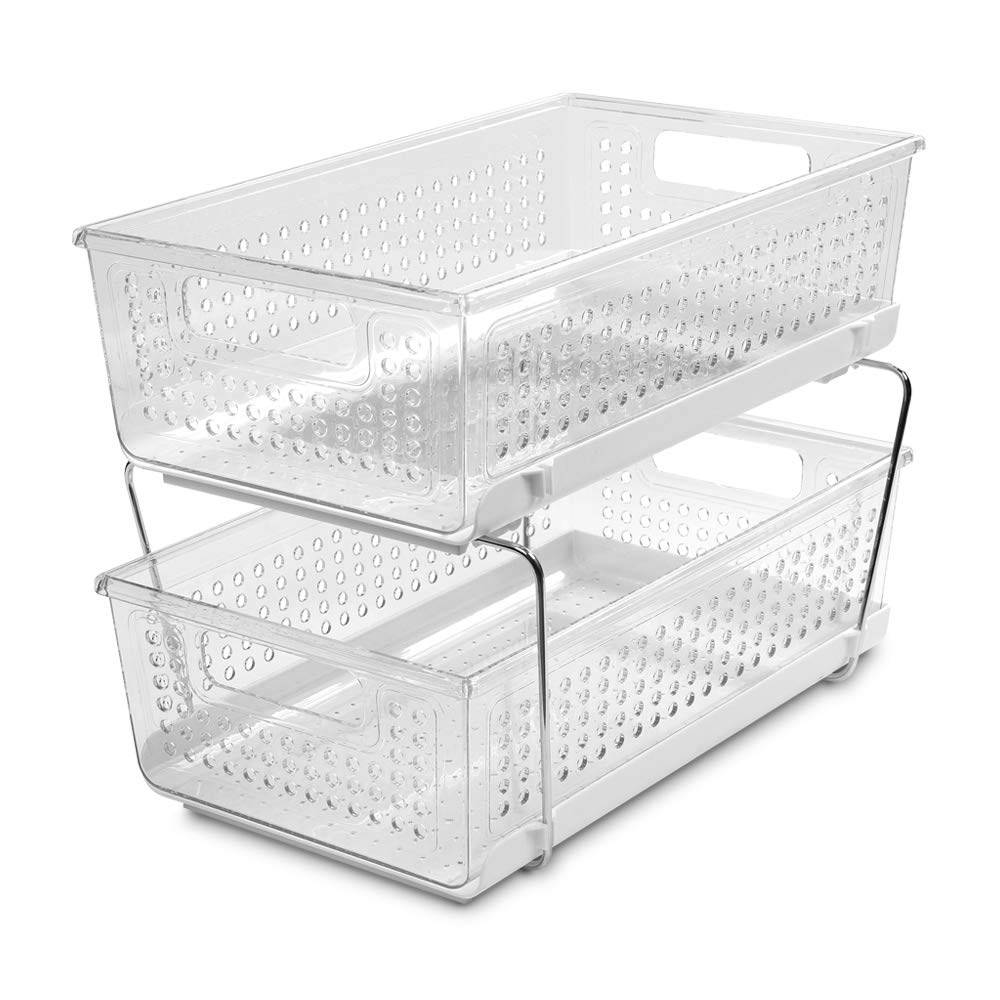 White & Clear 2-Tier Pull-Out Cabinet Basket