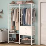 White Standing Closet With Drawers