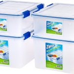 Ziploc WeatherShield 26.5 and 44 Quart Storage Box, 4 Pack, Clear