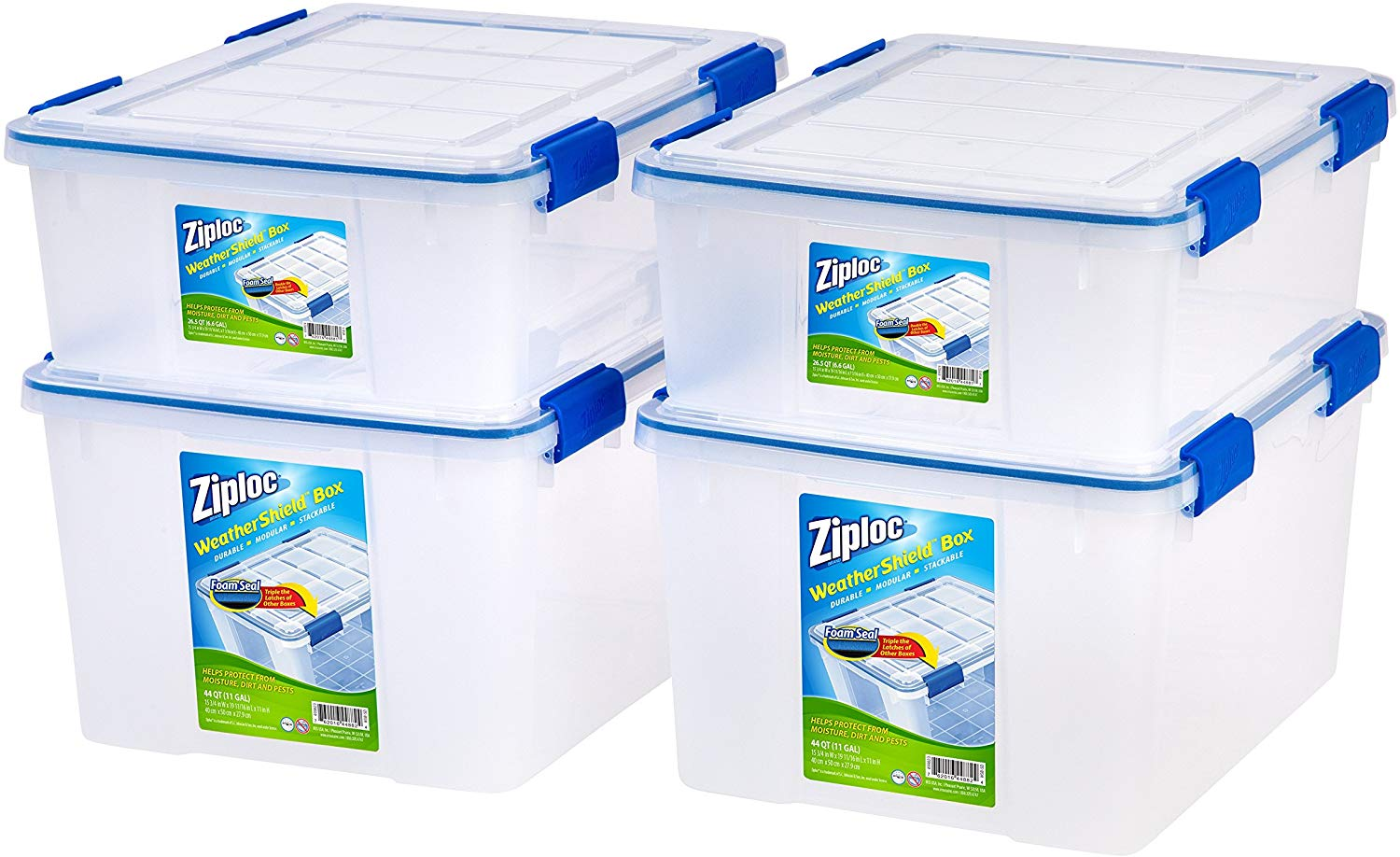 Ziploc WeatherShield 26.5 and 44 Quart Storage Box, 4 Pack, Clear
