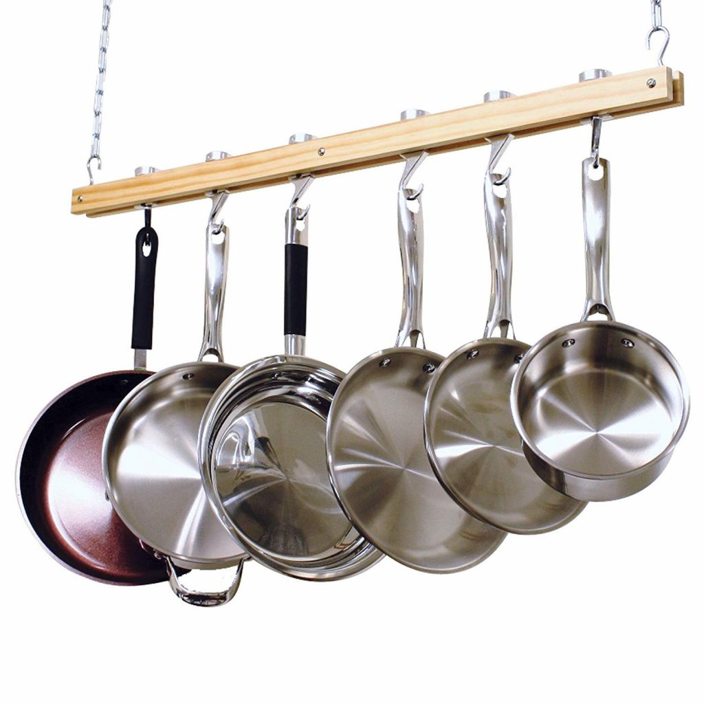 wooden pot rack