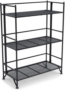 3-Tier Wide Folding Metal Shelf, Black