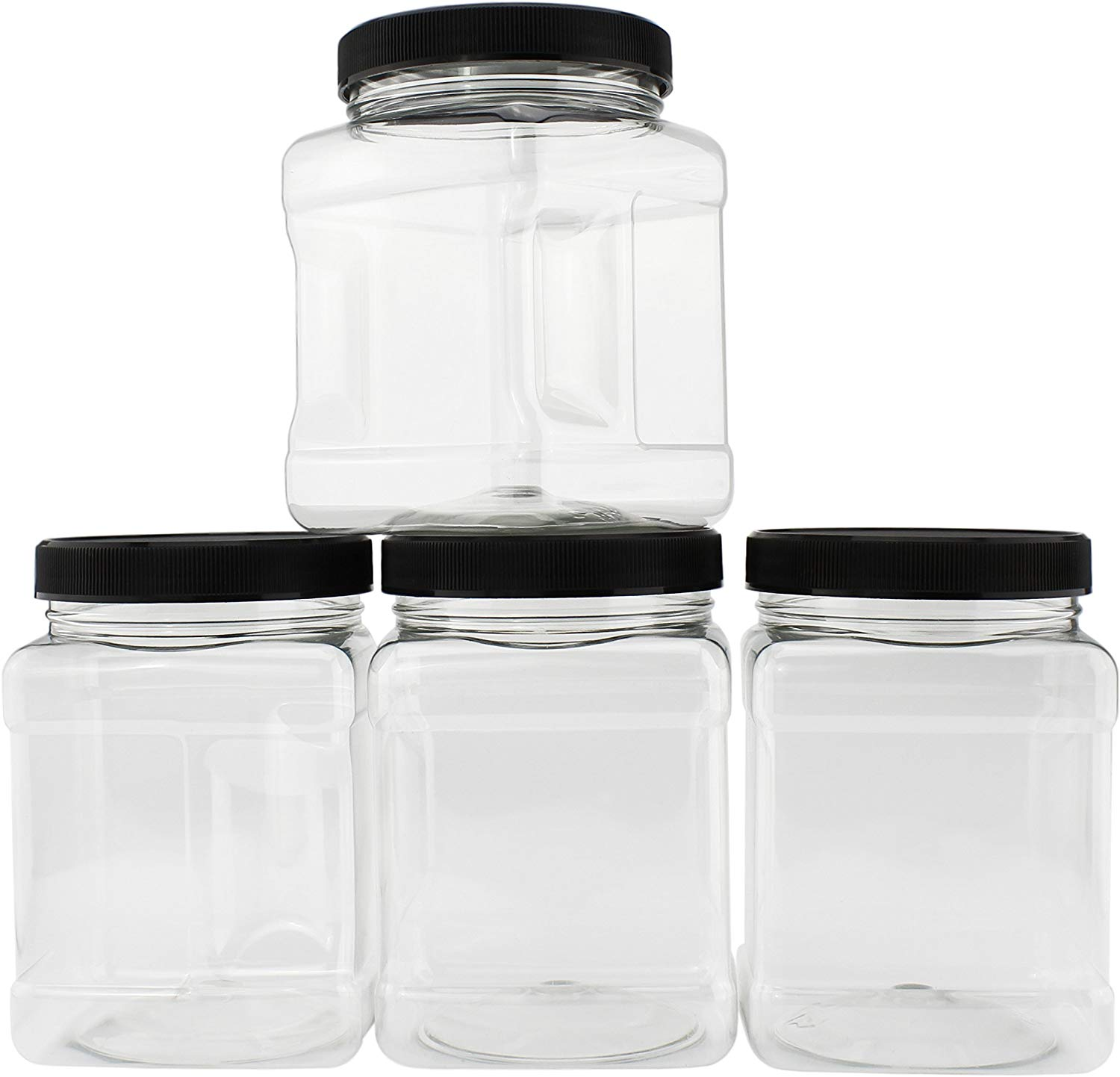 32-Ounce Square Plastic Jars (4-Pack)