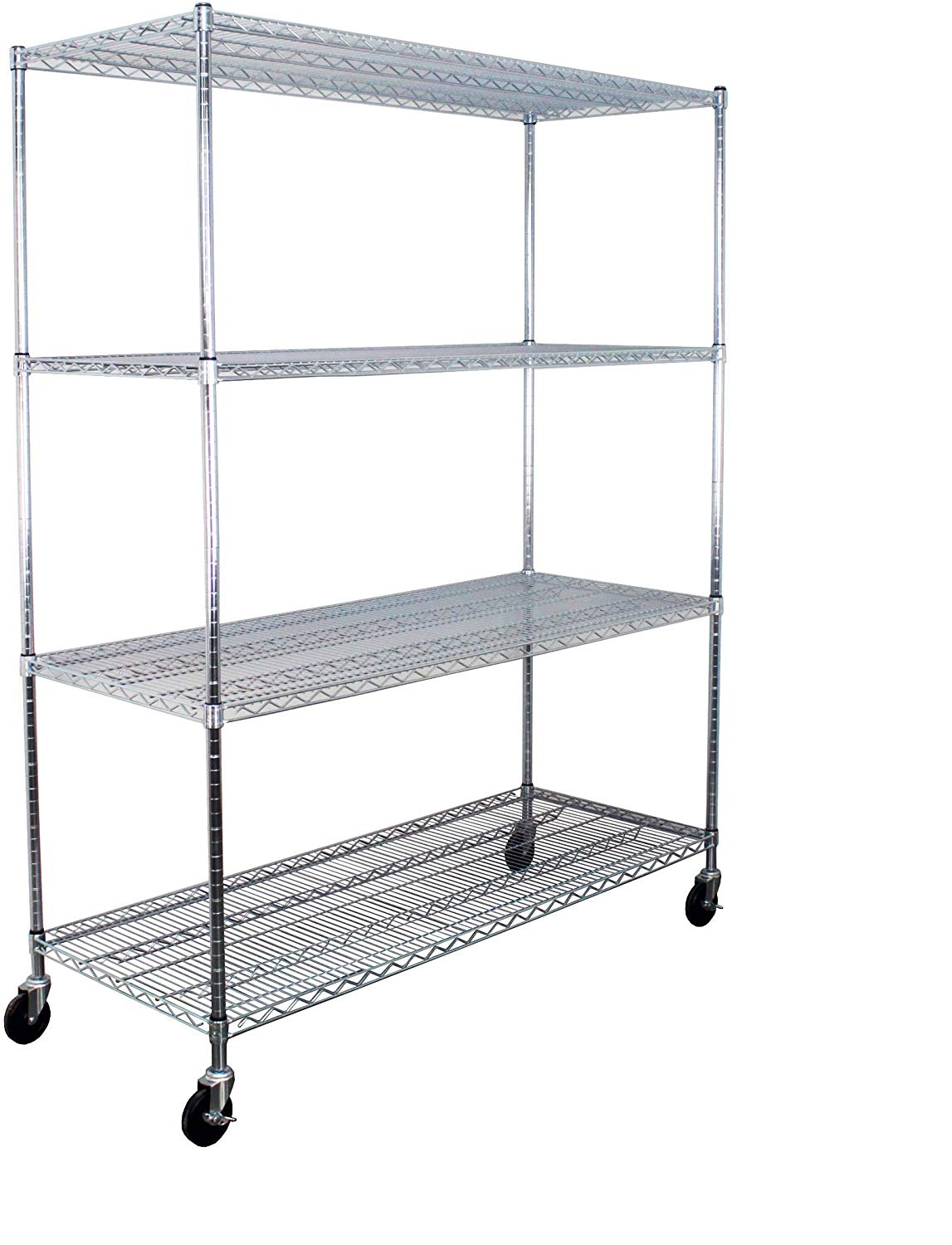 "4 Shelf Steel Wire Storage Rack: 24""D x 60""W x 74""H"