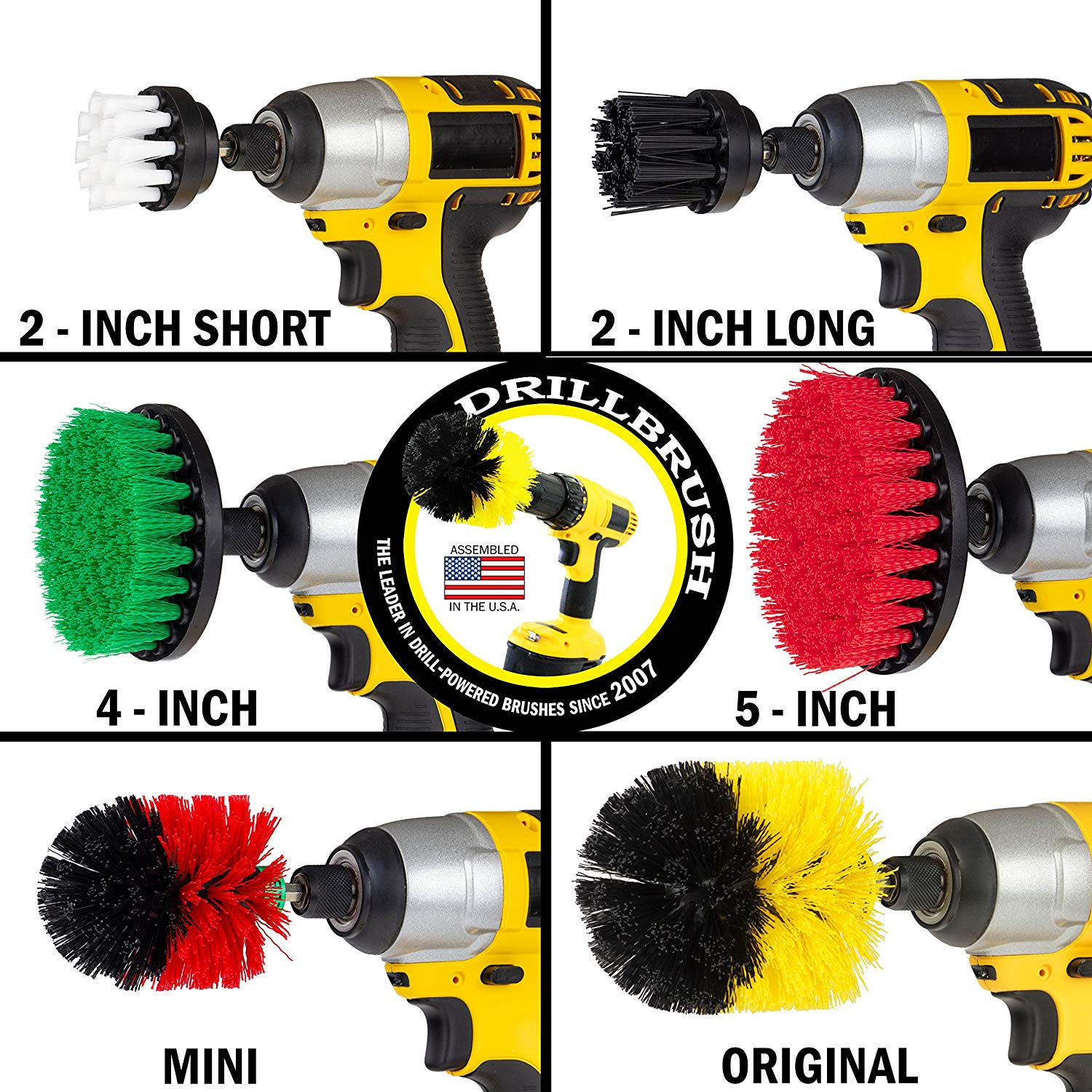 Use your drill with extra brushes for a perfect scrubber