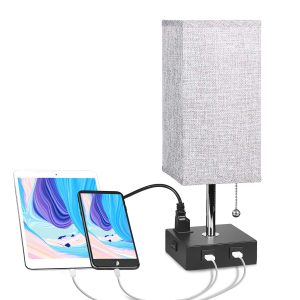 Aooshine Nightstand Lamp with 2 USB Ports & One Outlet