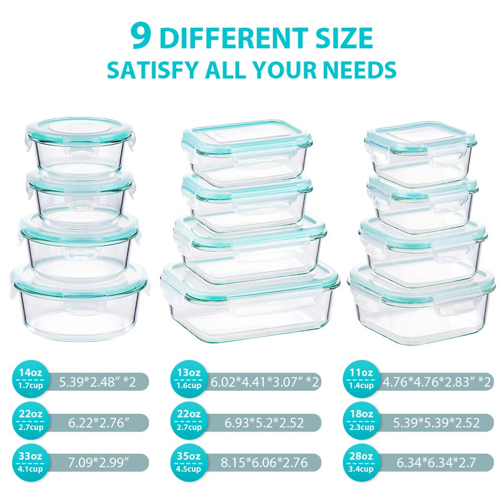 Bayco Glass Food Storage Containers with Lids 24 Piece