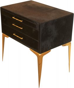 Glam Black Hairhide Gold Metal Accent Table