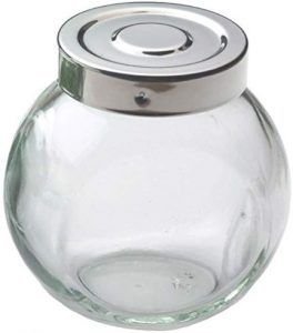 Glass Ball Spice Bottle with Stainless Steel Lid - 6 oz